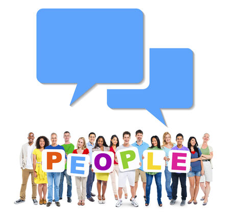 Multi-Ethnic Group Of People Holding Alphabet To Form People And Speech Bubbles Above photo