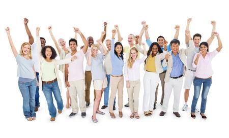Large Group of People Celebrating Stock Photo