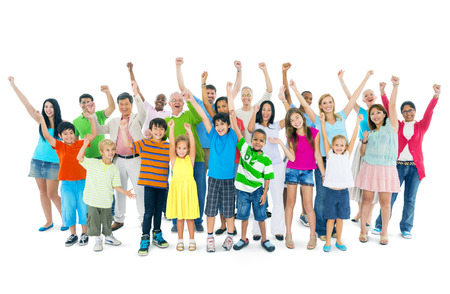 children celebration: Group of mixed age people Stock Photo