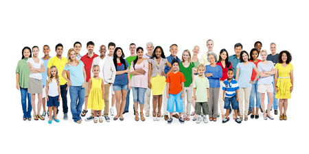 människor: En stor grupp av olika färgrika Happy People