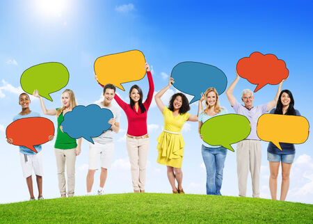 People Outdoors with Empty Speech Bubbles photo