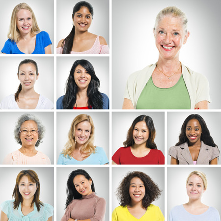 human face: Group of multi ethnic women smiling.