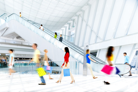 Motion Blurred People in the Shopping Mall 스톡 콘텐츠