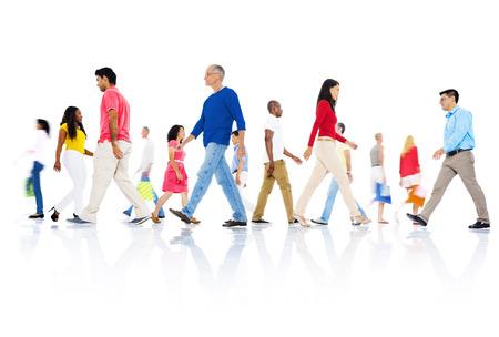 Multi-ethnic group of people walking