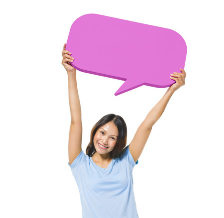 Cheerful Casual Woman Holding Speech Bubble