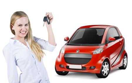 後ろに車のキーと赤い車を保持している若い女性
