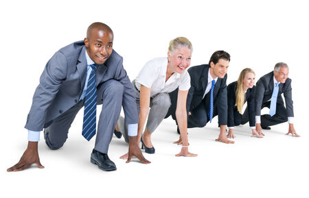 Group of Business People at Starting Point Stockfoto