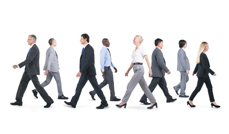 large group of people: Mullti-ethnic group of business person walking
