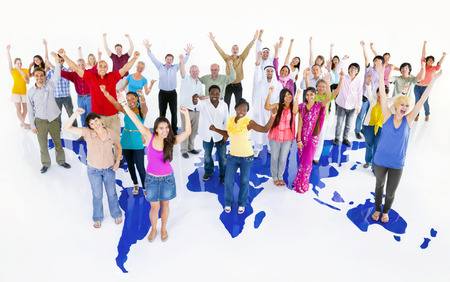 large multi-ethnic group of world people with world map Stock Photo