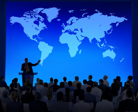 backlit: Business Meeting With A World Map As A Background