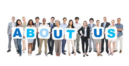 사업 사람들의 그룹 회사 소개 개최 스톡 콘텐츠