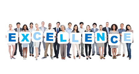 Group Of Business People Holding The Word Excellence Stok Fotoğraf