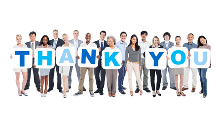 Group Of Multi-Ethnic Group Of Business People Holding Placards Forming Thank You Stock Photo - 31292891