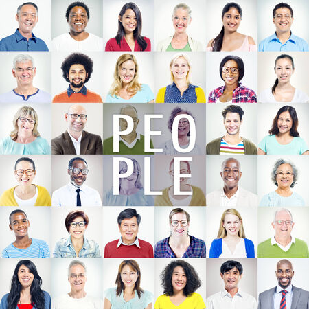 head and shoulders: Portrait of Multiethnic Diverse Colorful People Stock Photo