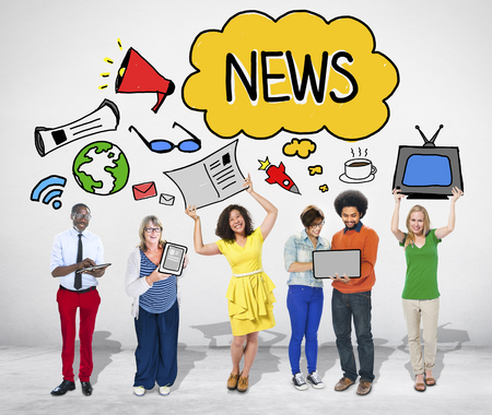 news media: Group of People with Digital Media Concepts
