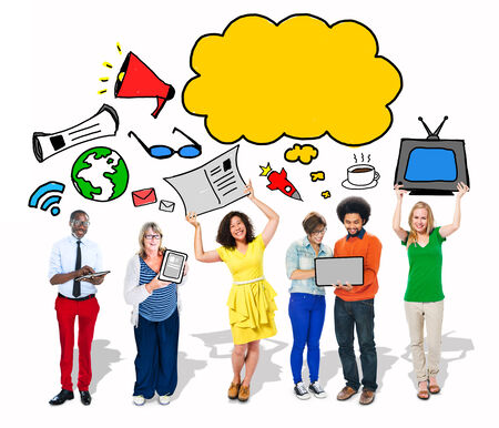 Group of People with Blank Speech Bubble and Digital Media Concepts photo