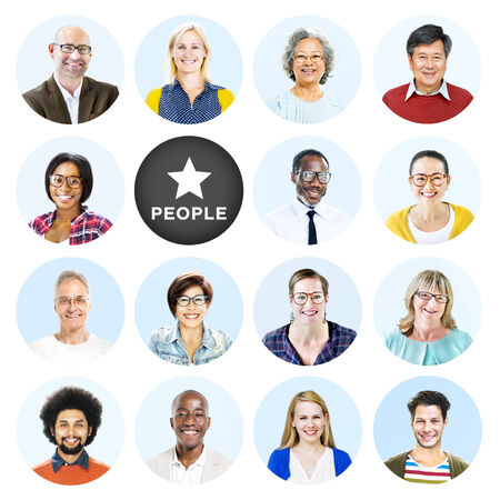 Headshots of Multi-Ethnic Group of People Isolated photo