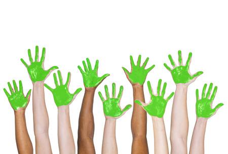 Peint en vert mains. Banque d'images - 31298957