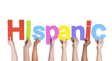 southern european descent: Multiethnic Arms Raised with Text Hispanic