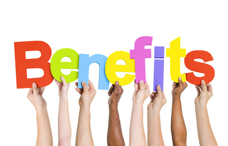 Multi Ethnic People Holding The Word Benefits Stock Photo