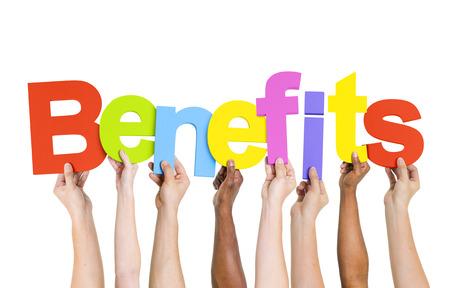 Multi Ethnic People Holding The Word Benefits Standard-Bild