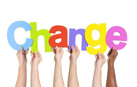 english ethnicity: Multi Ethnic People Holding The Word Change