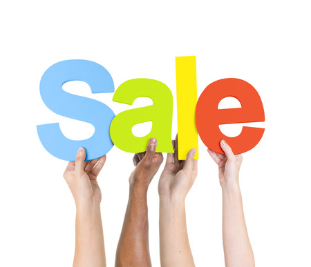 multi ethnic group: Multi Ethnic People Holding The Word Sale