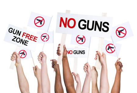 People campaigning for gun free zone. photo
