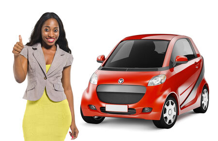 African American woman by red car photo