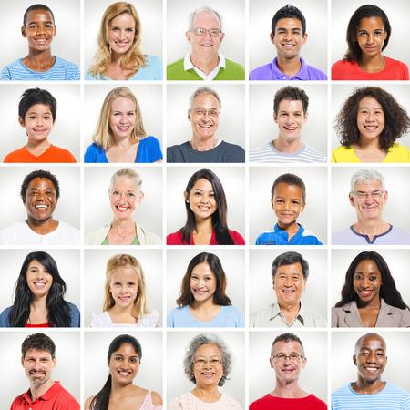 多様な人々 の肖像画 写真素材