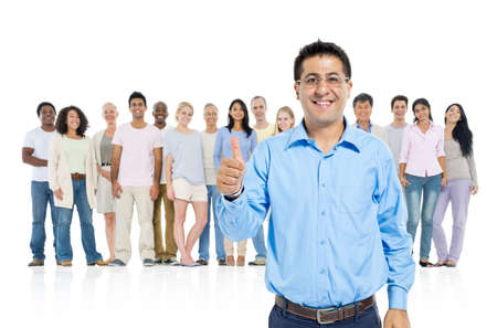 standing out from the crowd: Mid-age man thump up and standing out from crowd