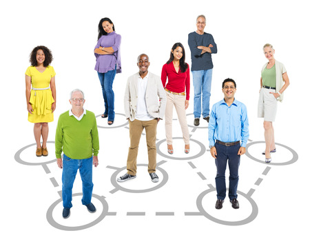 group of old people: Group of multi-ethnic connected smart casual people.