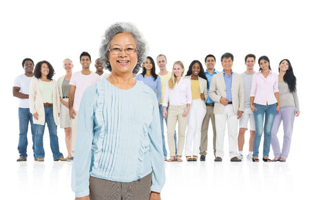 standing out from the crowd: Senior adult standing out from crowd