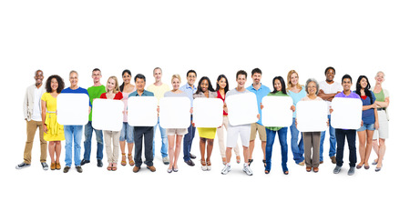 Multi-Ethnic Group Of People Holding 9 Empty Placards Stock Photo
