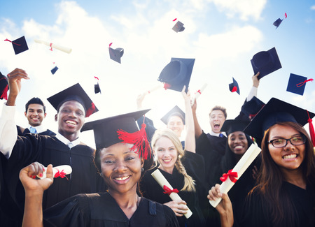 college student: Diverse Graduating Students Stock Photo