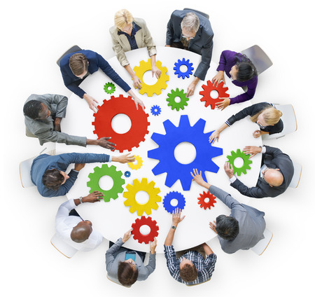 business teamwork: Business People with Gears and Teamwork Concept