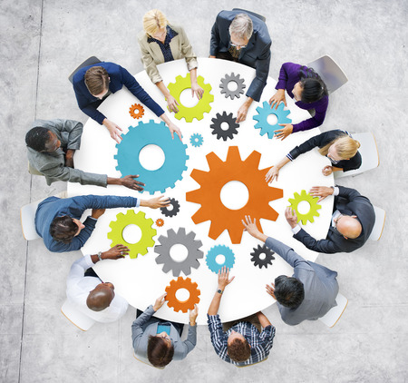 Business People with Gears and Teamwork Concept Banco de Imagens - 31300596