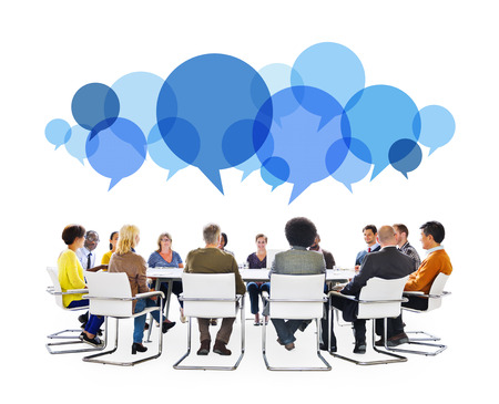 meeting table: Diverse People in Meeting With Speech Bubbles