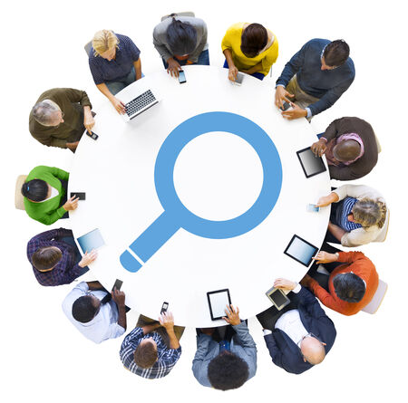 Diverse People Using Digital Devices with Search Symbol photo