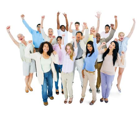 crowds': Group of Multi Ethnic Diverse People Celebrating Stock Photo