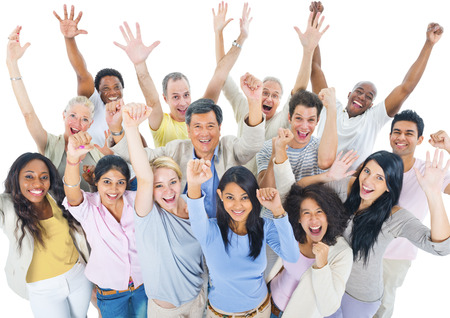 on a white background: Large Group of People Celebrating Stock Photo