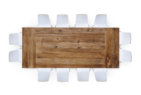 Large Brown Meeting Table with Twelve Chairs photo