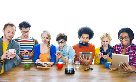 Multi-Ethnic People Social Networking  Stock Photo