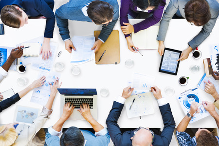 high angle view: Diverse Business People on a Meeting