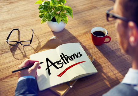 asthma: Businessman Brainstorming About Asthma