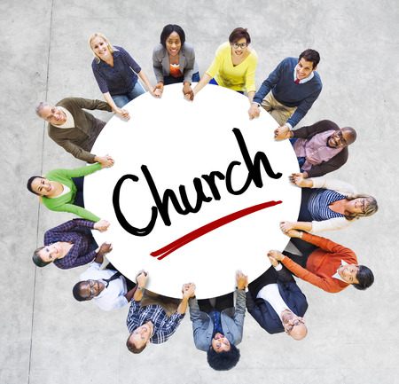 Multi-Ethnic Group of People and Church Concepts Stock Photo