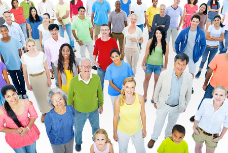 mixed age: Large Group of People Working Stock Photo