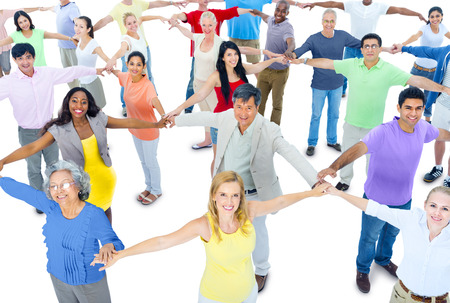 holding  hand: Large Group of People Holding Hand Stock Photo