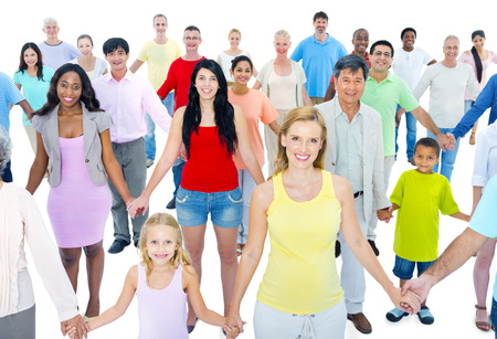 Large Group of People Holding Hand Stock Photo