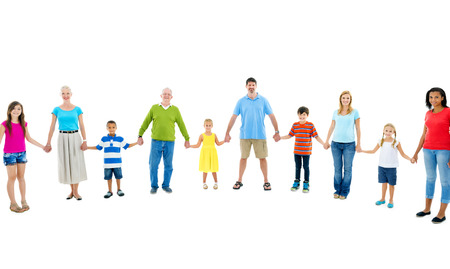 mixed age: Large Group of People Holding Hand Stock Photo